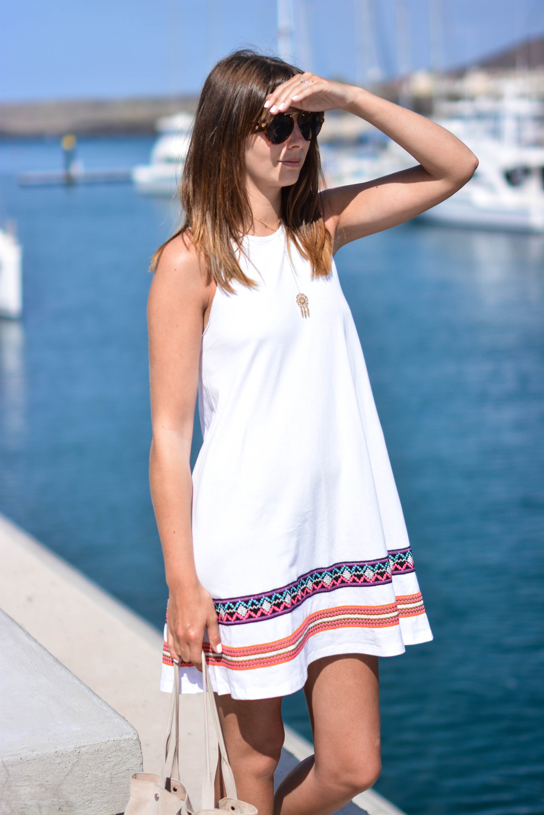 EJSTYLE - Emma Hill Wears ASOS white swing dresswith colourful hem detail, asos round bridge sunglasses