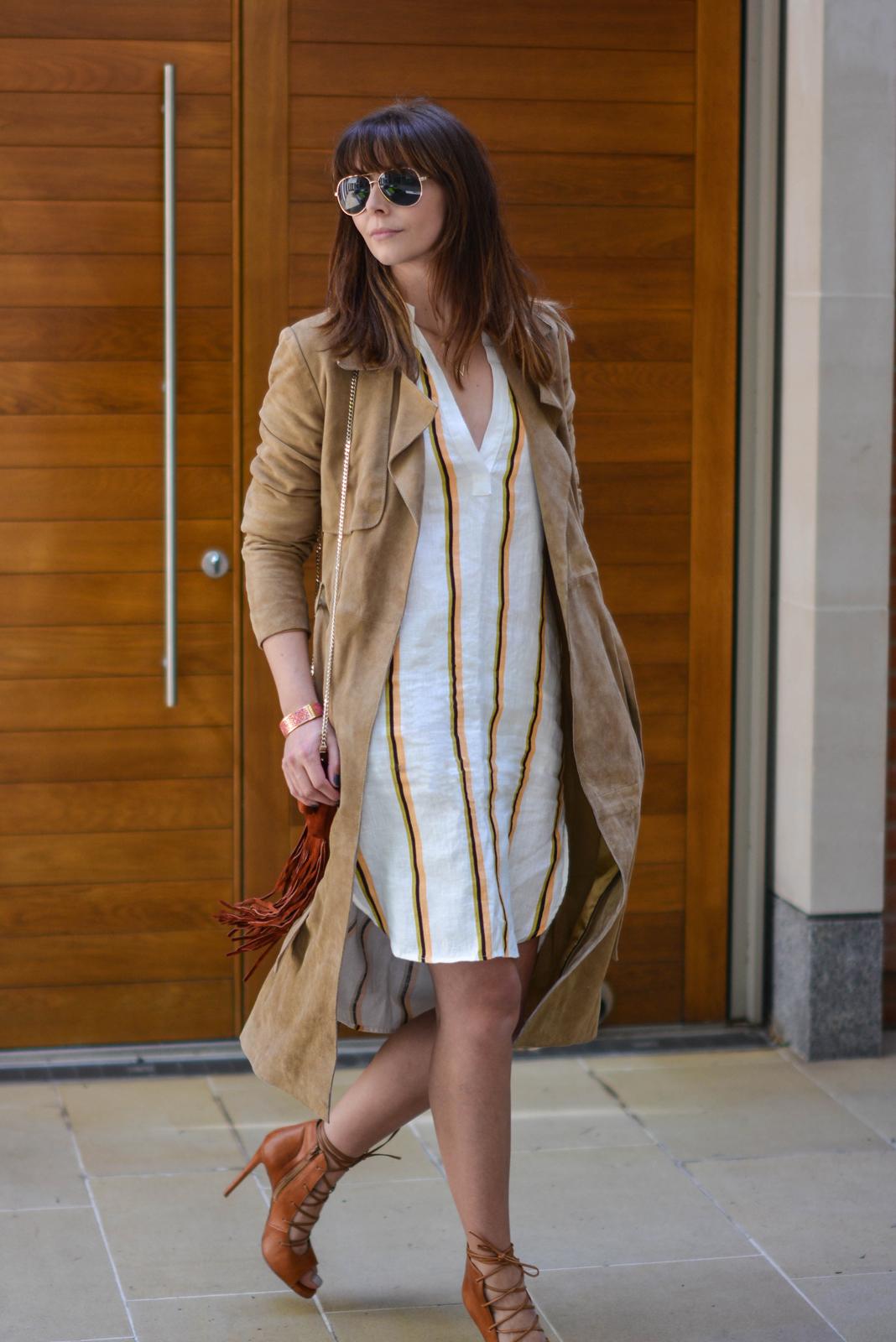 EJSTYLE - Emma Hill wear H&M linen stripe shirt dress, Gestuz suede trench coat, tan lace up heels, Karen Millen suded fringe bag, OOTD