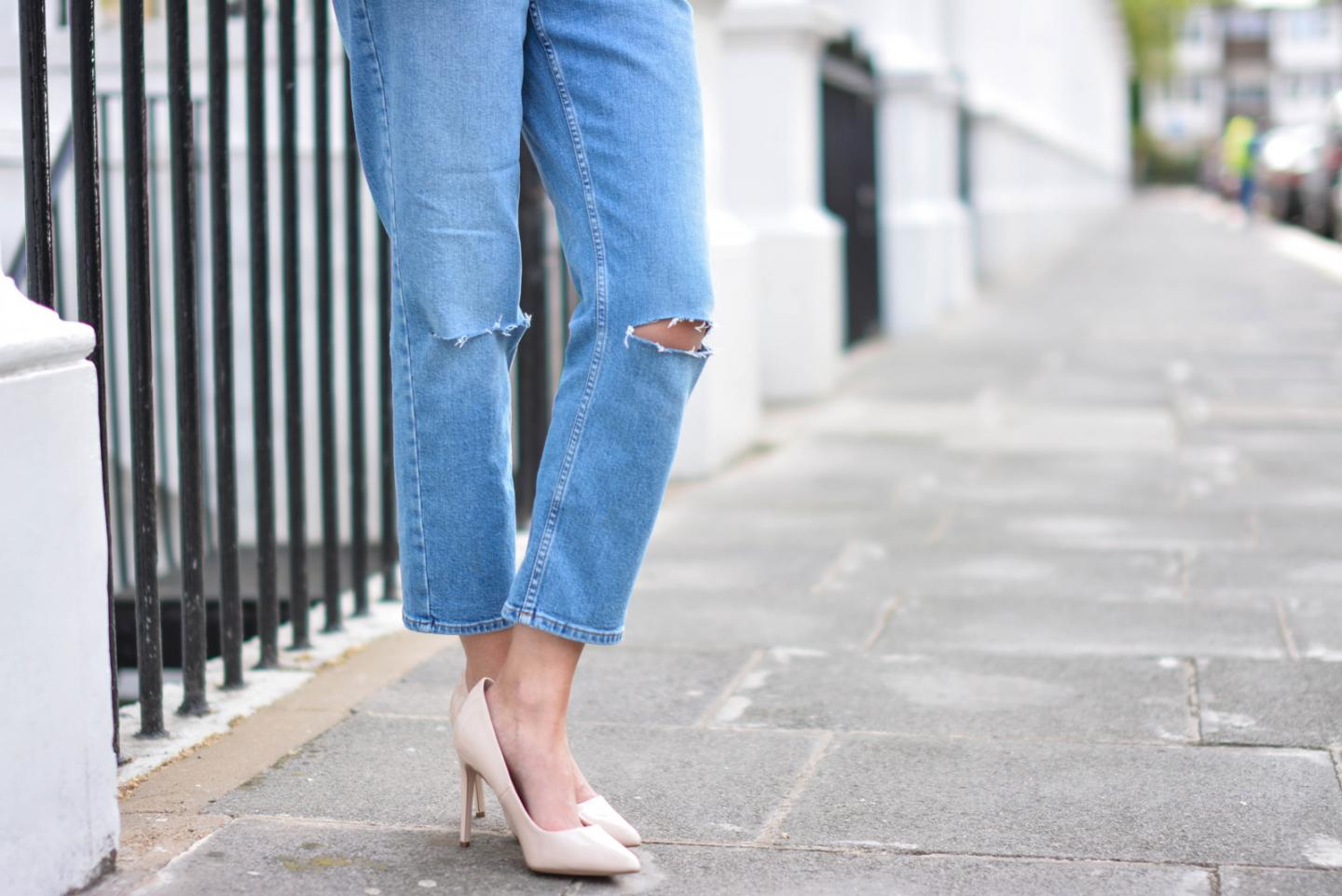 EJSTYLE - Emma Hill wears ASOS Thea girlfriend jeans with ripped knees, nude patent pointed toe court shoes