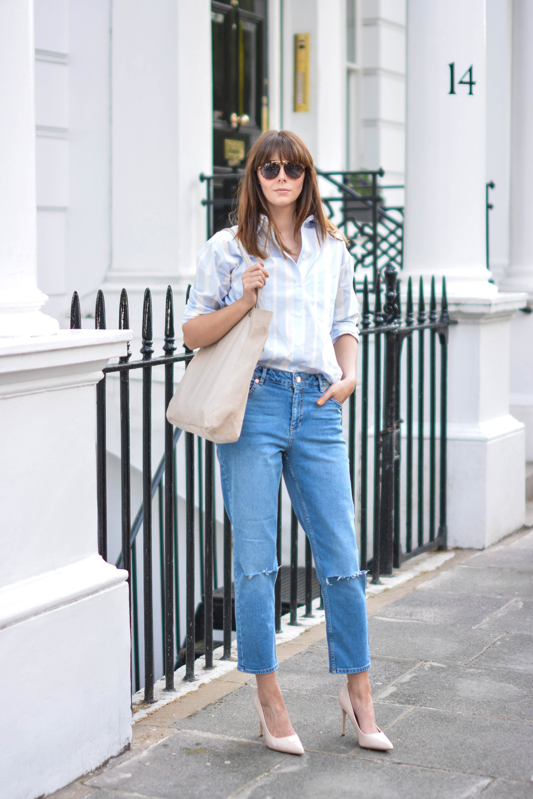 EJSTYLE - Emma Hill wears ASOS Thea girlfriend jeans with ripped knees, striped boyfriend shirt, leather suede nude shopper tote bag, nude patent pointed toe court shoes, aviator sunglasses, OOTD, street style