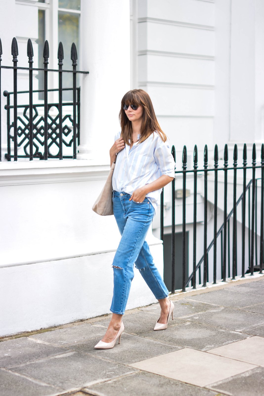 EJSTYLE - Emma Hill wears ASOS Thea girlfriend jeans with ripped knees, striped boyfriend shirt, leather suede nude shopper tote bag, nude patent pointed toe court shoes, aviator sunglasses, OOTD