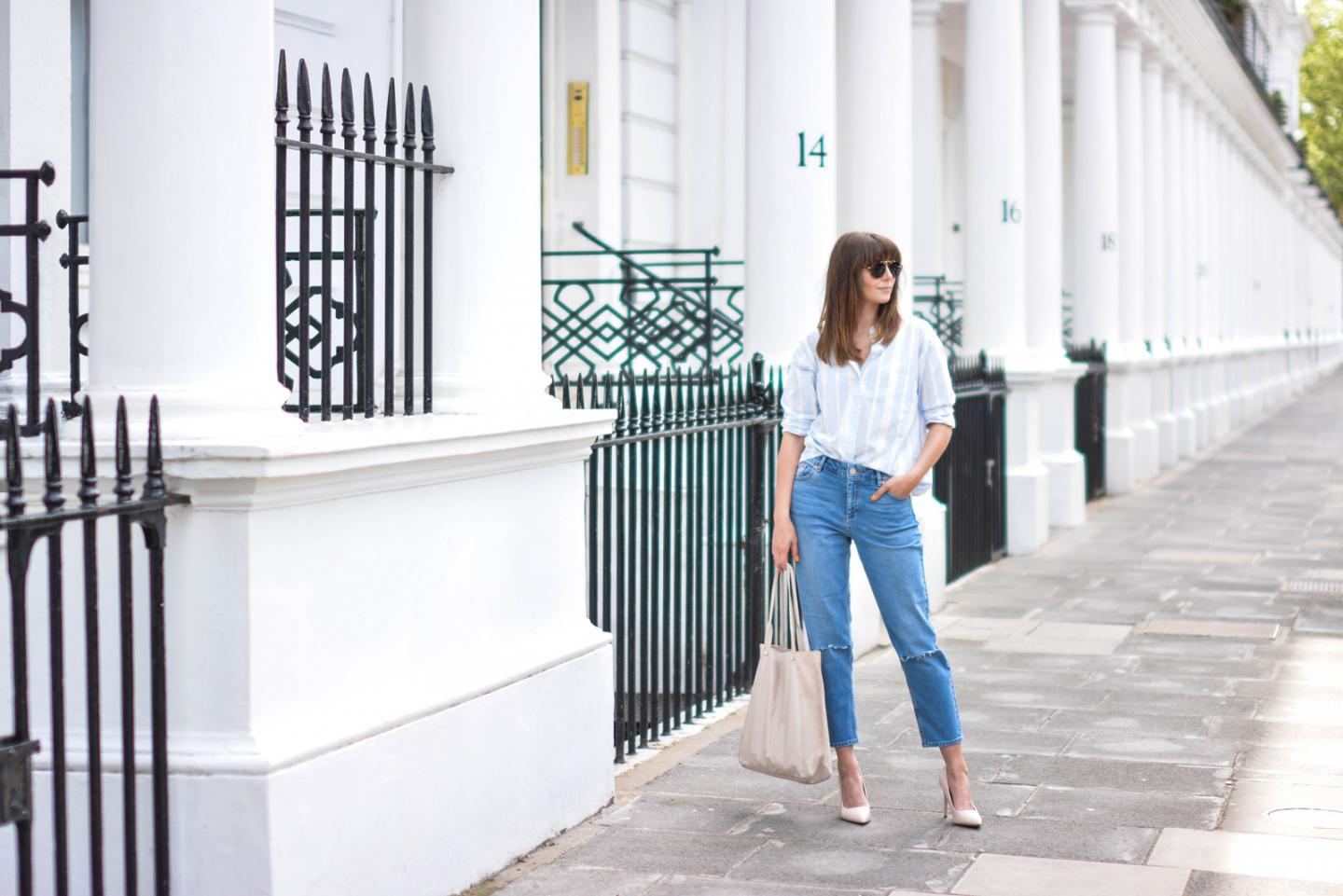 EJSTYLE - Emma Hill wears ASOS Thea girlfriend jeans with ripped knees, striped boyfriend shirt, leather suede nude shopper tote bag, nude patent pointed toe court shoes, aviator sunglasses, Street style