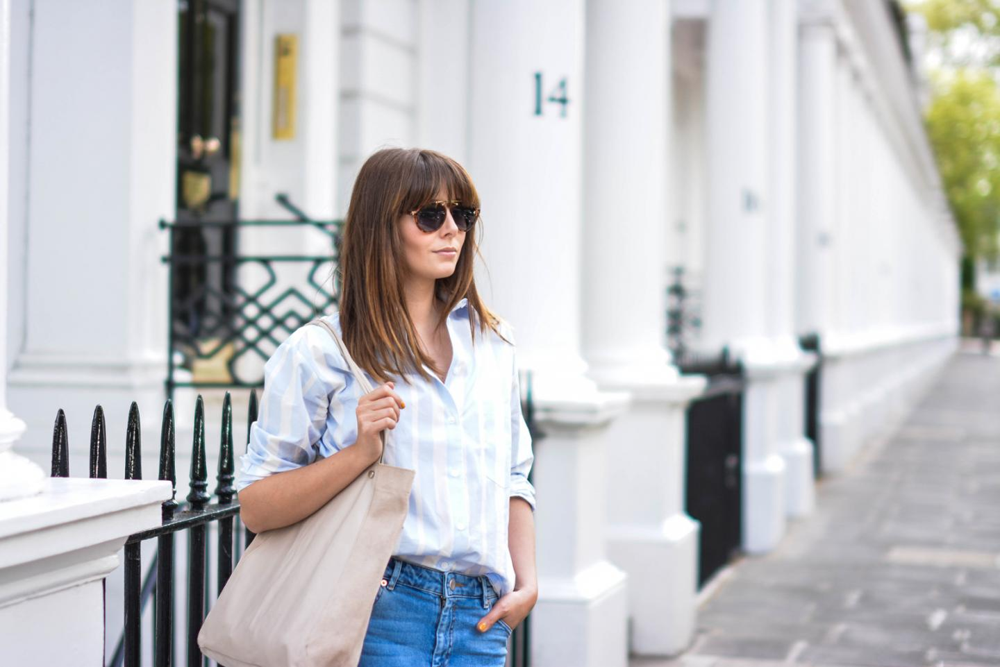 EJSTYLE - Emma Hill wears ASOS striped boyfriend shirt, leather suede nude shopper tote bag, Thea girlfriend jeans, aviator sunglasses
