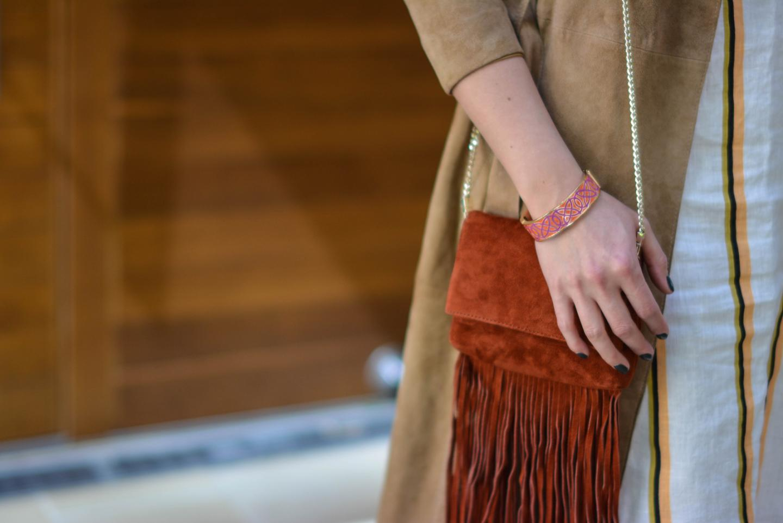 EJSTYLE - Emma Hill wears H&M linen stripe shirt dress, Gestuz suede trench coat, Karen Millen suded fringe bag, Stella & Dot bracelet, OOTD