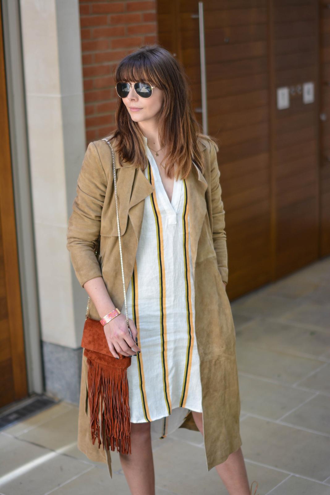 EJSTYLE - Emma Hill wears H&M linen stripe shirt dress, Gestuz suede trench coat, gold aviator sunglasses, Karen Millen suded fringe bag, Stella & Dot bracelet, OOTD