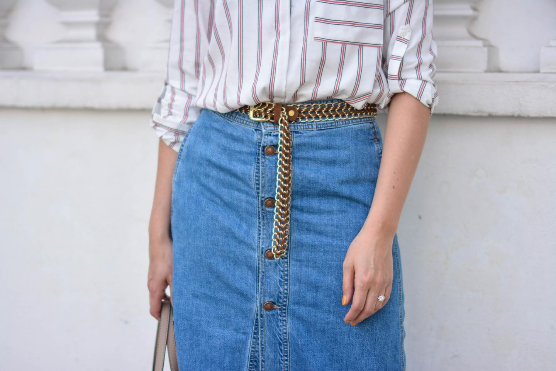 EJSTYLE - Emma Hill wears Zara denim a line button midi skirt, Zara 70s stripe shirt, tan suede gold chain belt