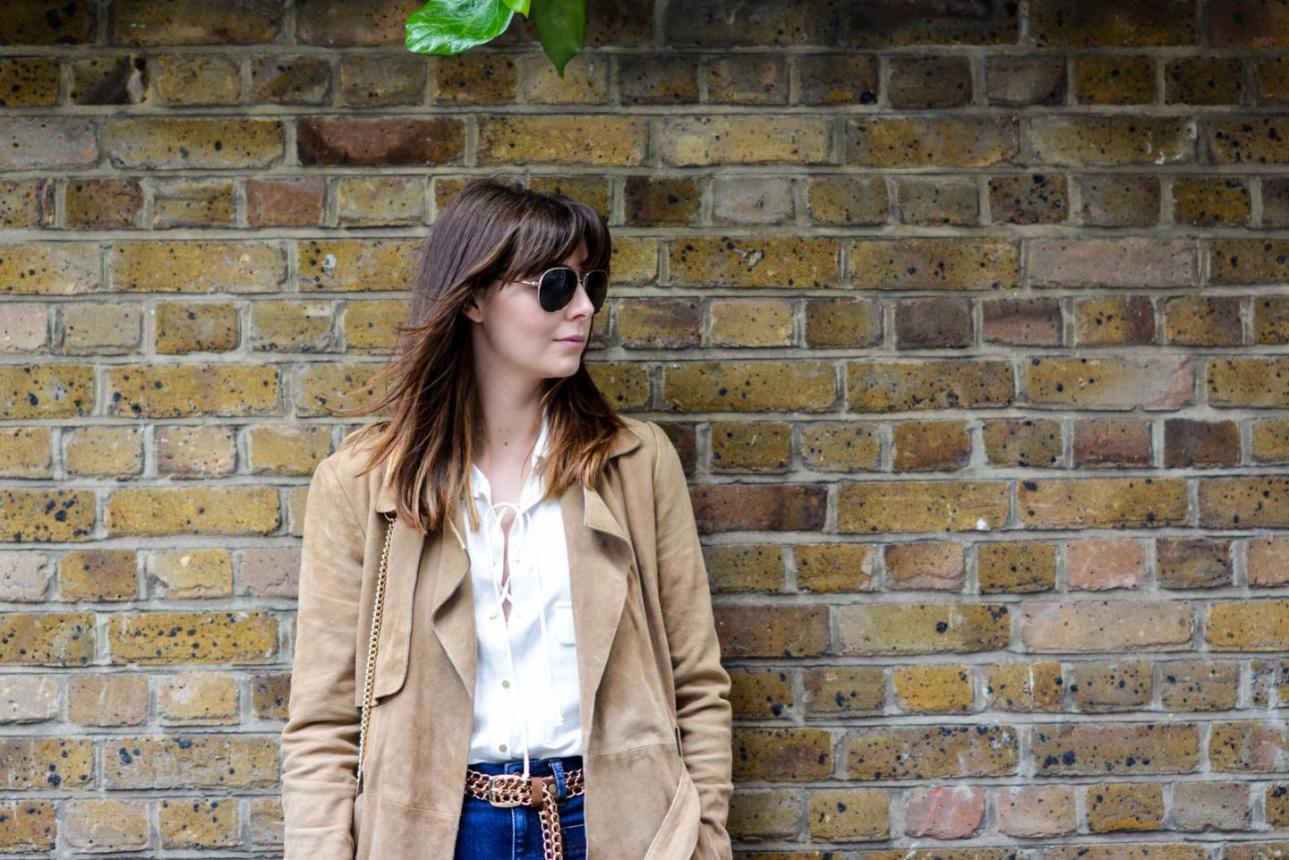 EJSTYLE - Suede trench coat by Gestuz, Zara lace up shirt, High waisted jeans, tan chain belt, gold aviator sunglasses