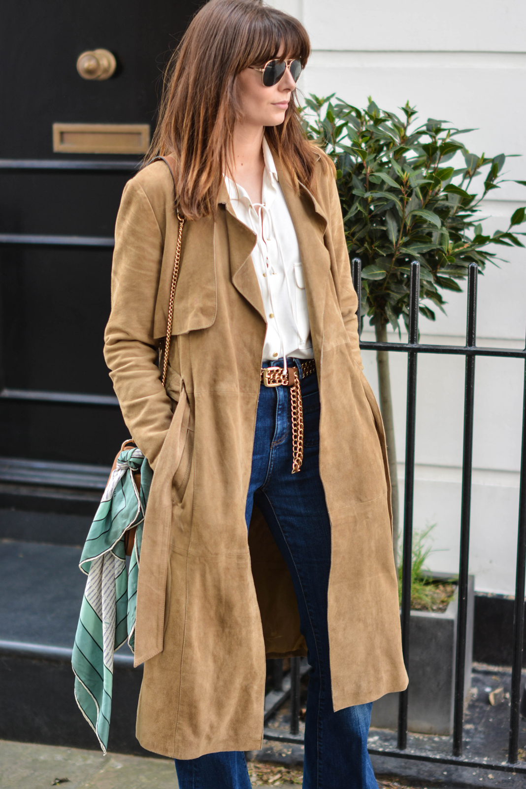 EJSTYLE - Suede trench coat by Gestuz, Zara lace up shirt, High waisted jeans, tan chain belt, vintage valentino scarf tied to a Chloe drew dupe bag from Forever 21