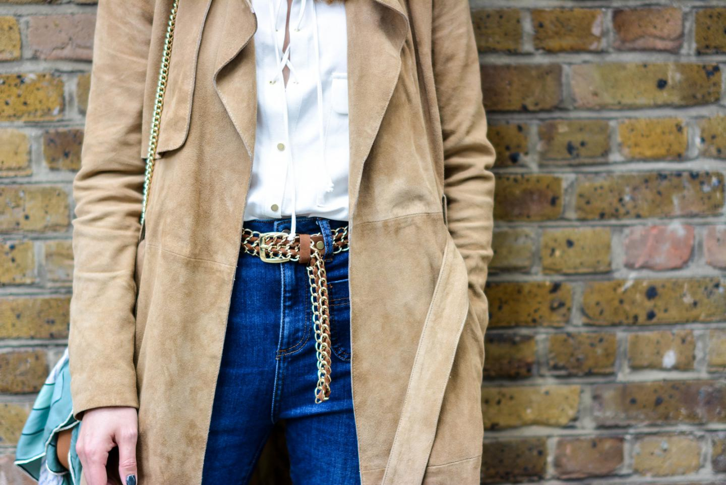 EJSTYLE - Suede trench coat by Gestuz, Zara lace up shirt, High waisted jeans, tan chain belt