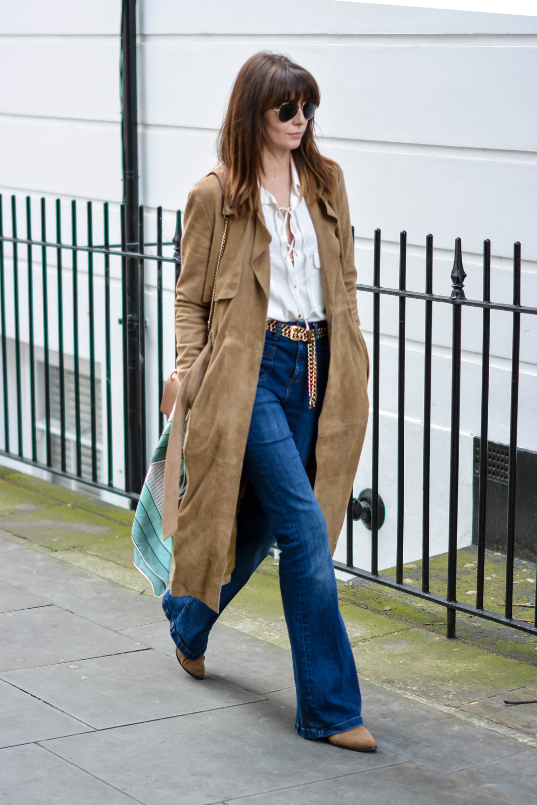 EJSTYLE - Suede trench coat by Gestuz, Zara lace up shirt, M&S High waisted flare jeans, tan chain belt, gold aviator sunglasses, Chloe drew dupe bag, Vintage valentino scarf, tan ankle boots, 70s inspired outfit
