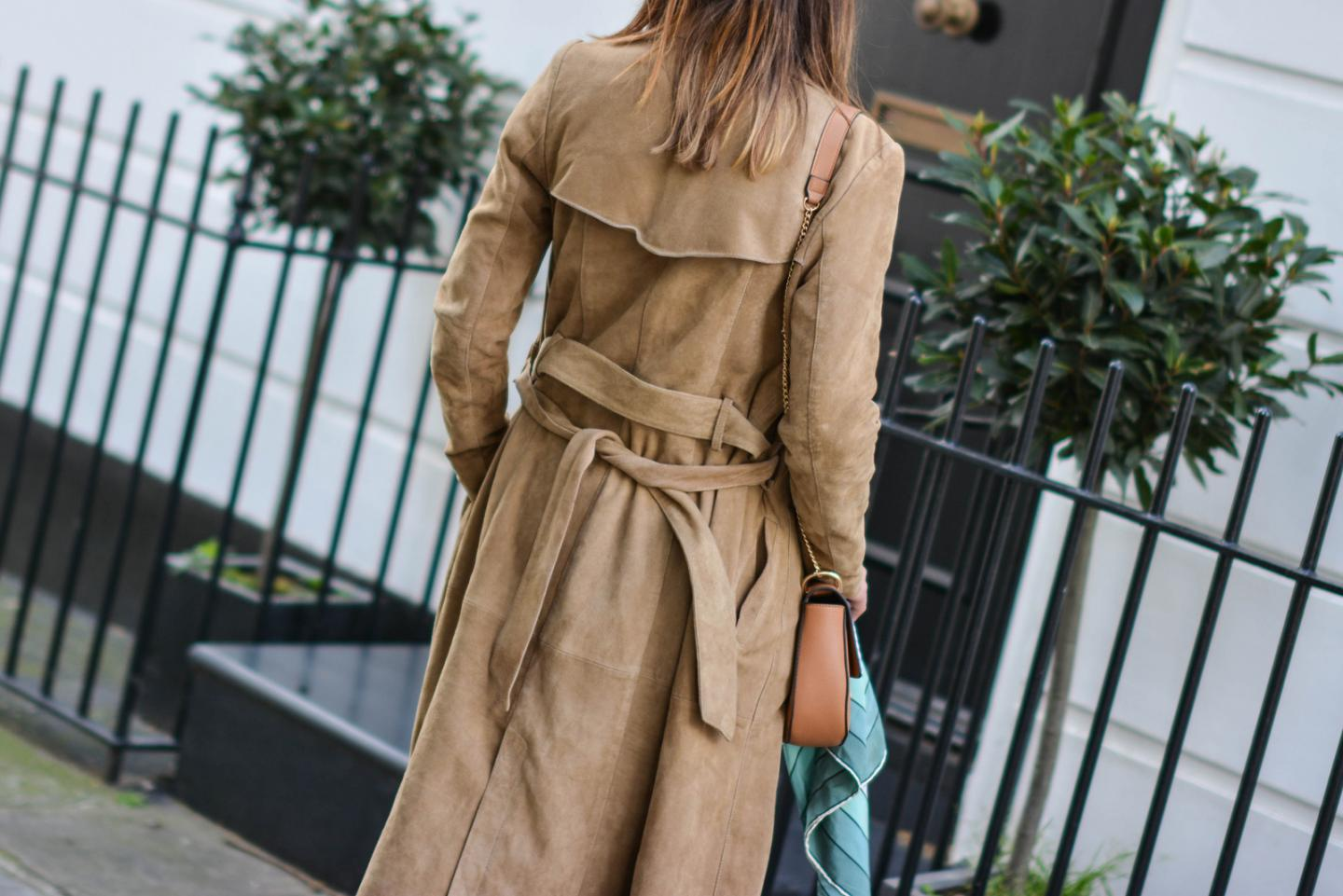 EJSTYLE - Suede trench coat by Gestuz