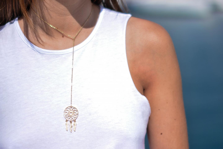 asos gold dreamcatcher necklace