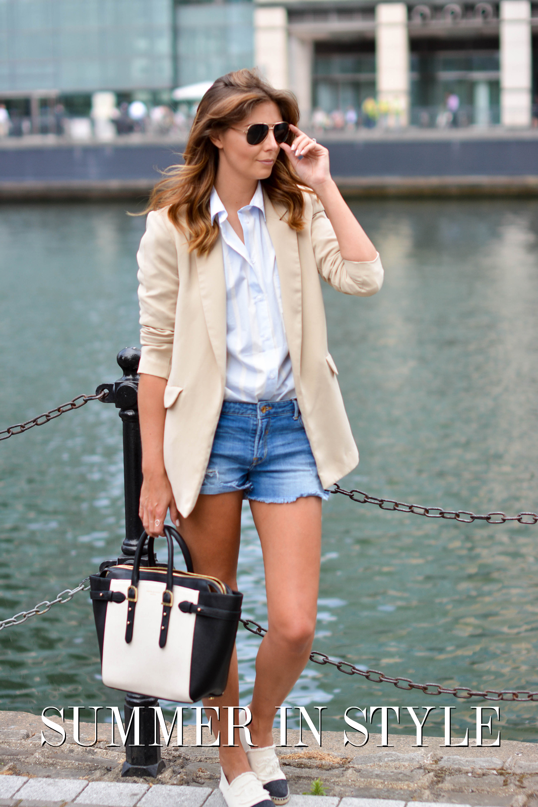 EJSTYLE - Beige long boyfriend blazer, blue stripe ASOS shirt, Denim shorts, Aspinal of London bag, gold aviator sunglasses, Chanel cream canvas espadrilles, TITLE