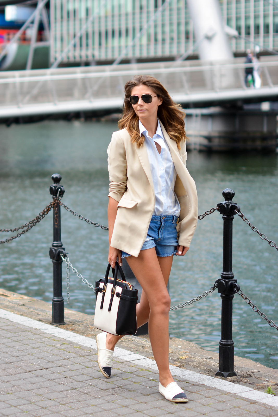 EJSTYLE - Beige long boyfriend blazer, blue stripe ASOS shirt, Denim shorts, Aspinal of London bag, gold aviator sunglasses, Chanel cream canvas espadrilles, summer street style, OOTD