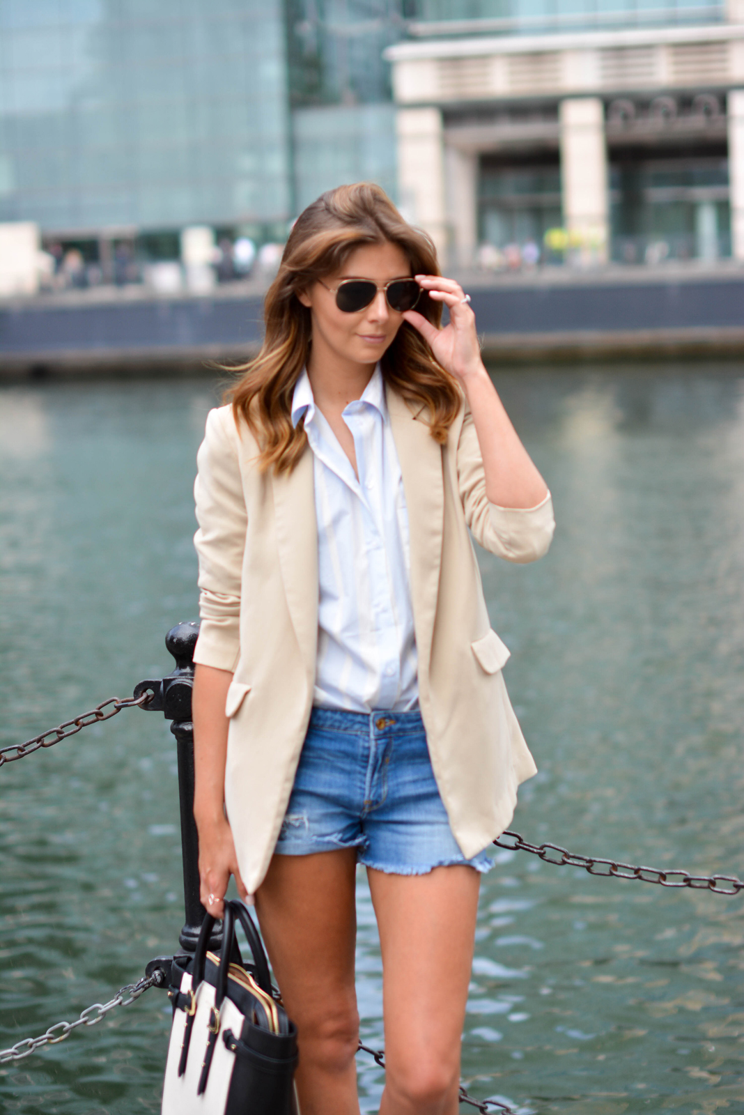 EJSTYLE - Beige long boyfriend blazer, blue stripe ASOS shirt, Denim shorts, Aspinal of London bag, gold aviator sunglasses, summer street style, OOTD