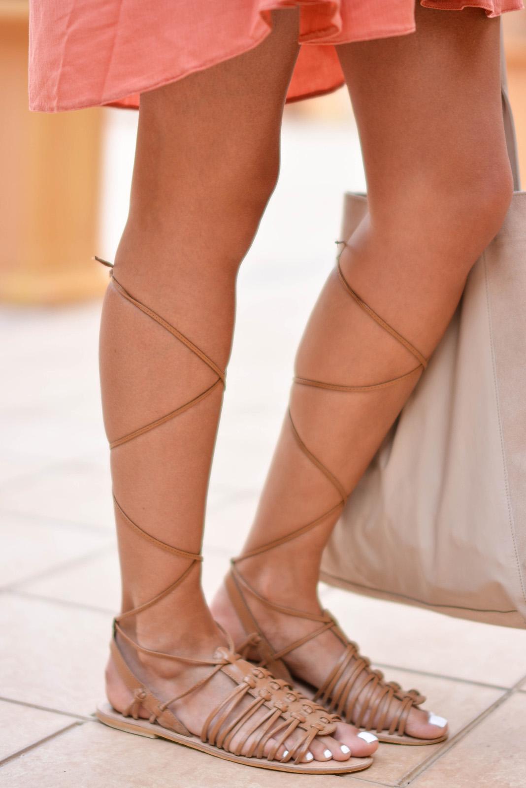EJSTYLE - Emma Hill wears ASOS tan grecian gladiator sandals, ASOS beige suede bag, asseenonme