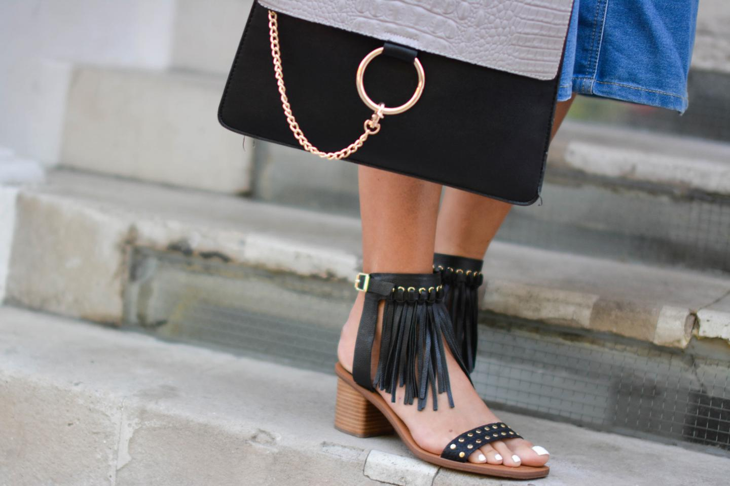 EJSTYLE - Emma Hill wears Aldo fringe studded sandals, Chloe Faye dupe bag, London Street Style, summer fashion, SS15