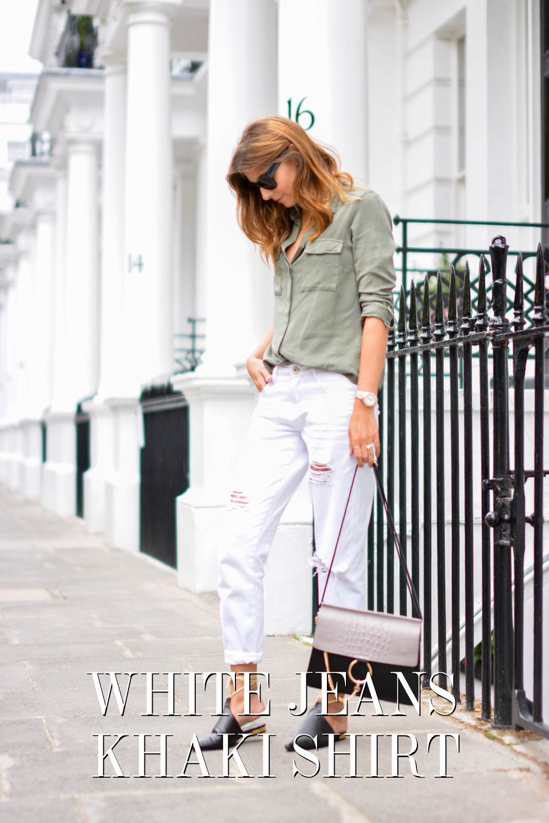 EJSTYLE - Emma Hill wears Chloe Faye dupe style bag, white ripped boyfriend jeans, khaki shirt, chanel style black mules flat shoes with gold ankle ties, chunky black cats eye sunglasses, OOTD, title