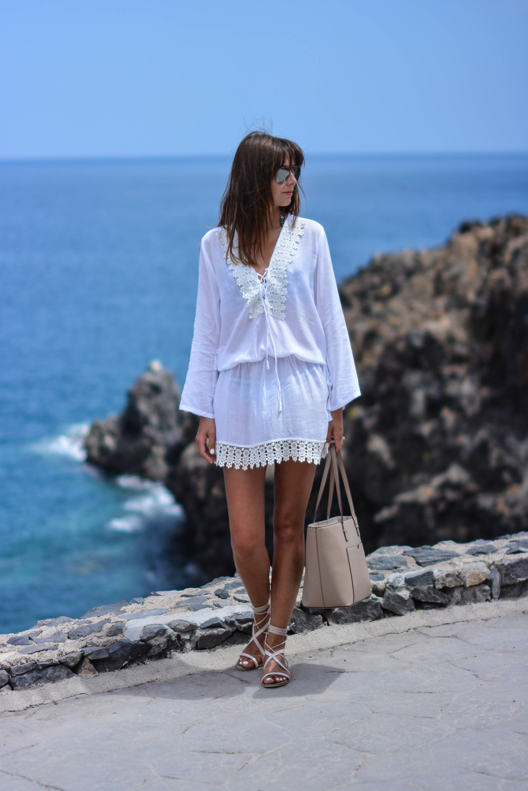 EJSTYLE - Emma Hill wears Cool Change Chloe Romance white tunic from Beach Cafe UK, Mango tie gladiator sandals, Mango saffiano tote shopper bag, summer style, vacation style