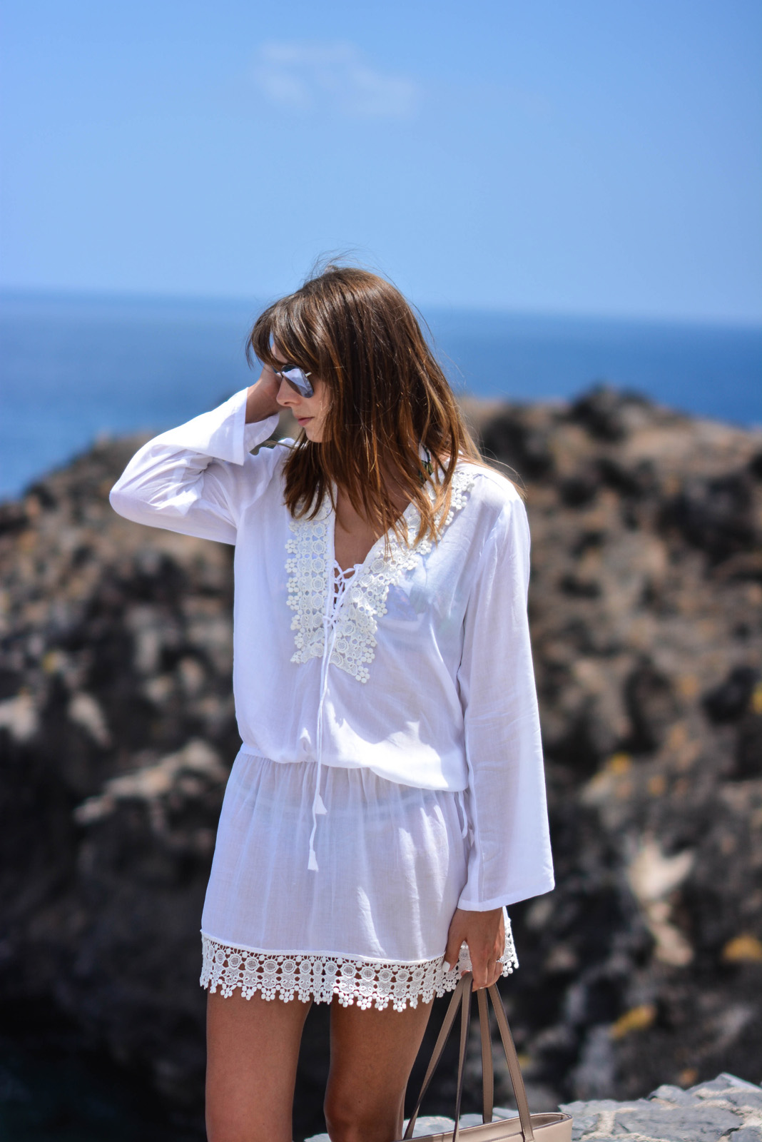 EJSTYLE - Emma Hill wears Cool Change Chloe Romance white tunic kaftan