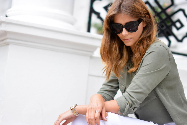 EJSTYLE - Emma Hill wears Monica Vinader rose gold diamond hoop ring, khaki shirt, chunky black cat eye sunglasses