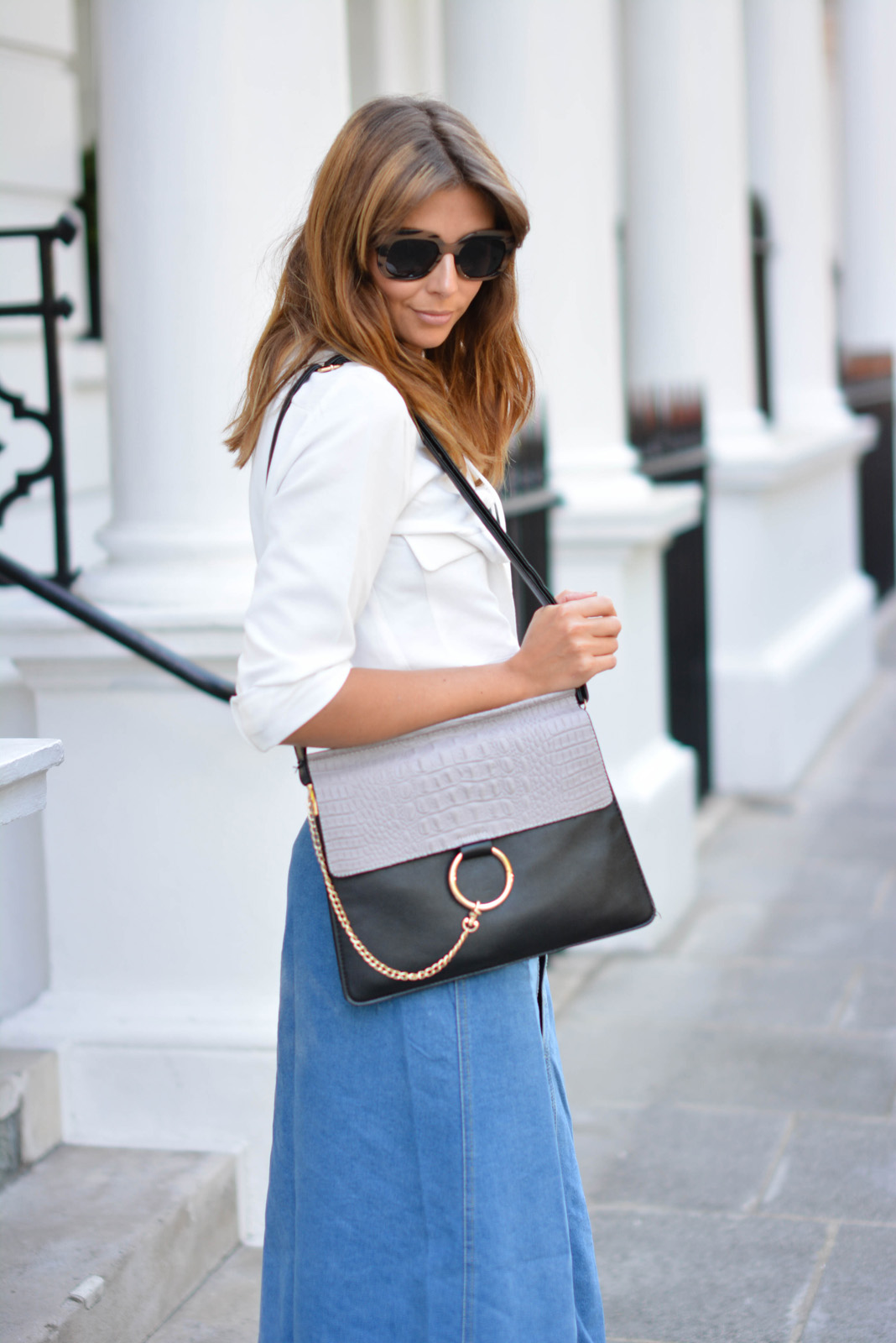 EJSTYLE - Emma Hill wears Zara lace up shirt, denim button up midi skirt, Chloe Faye dupe bag, ASOS chunky wood effect sunglasses, London Street Style, 70s fashion, SS15
