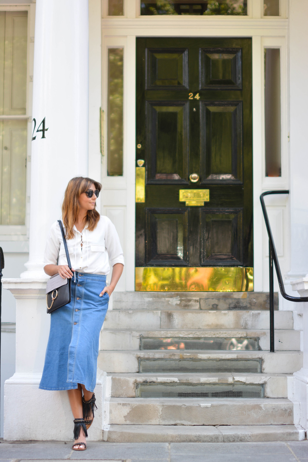 EJSTYLE - Emma Hill wears Zara lace up shirt, denim button up midi skirt, Chloe Faye dupe bag, Aldo black fringe studded sandals, ASOS chunky wood effect sunglasses, London Street Style, 70s fashion, SS15