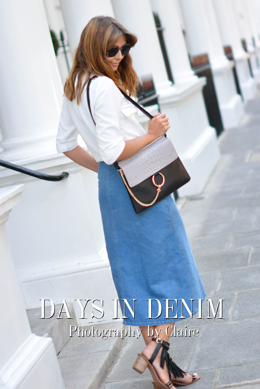 EJSTYLE - Emma Hill wears Zara lace up shirt, denim button up midi skirt, Chloe Faye dupe bag, Aldo black fringe studded sandals, ASOS chunky wood effect sunglasses, London Street Style, summer fashion, title