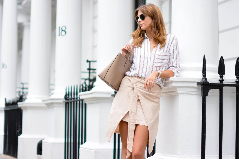 EJSTYLE - Emma Hill wears Zara stripe shirt, beige wrap skirt, Mango saffiano tote bag, aviator sunglasses, Summer OOTD, london street style
