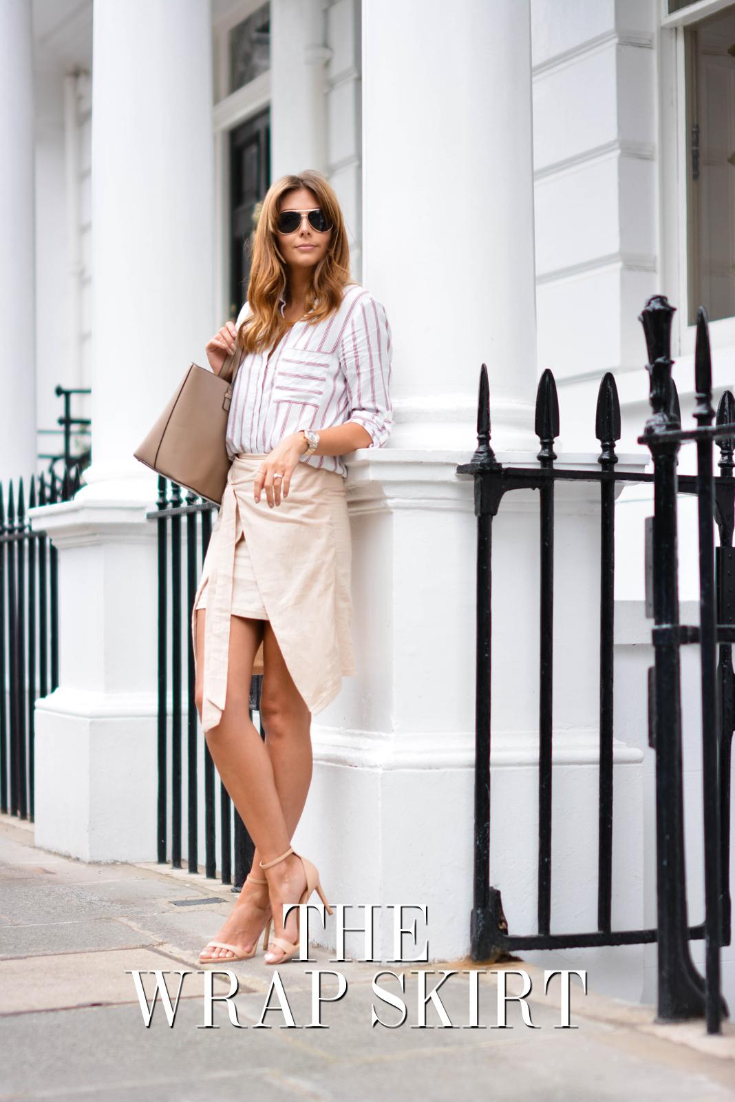 EJSTYLE - Emma Hill wears Zara stripe shirt, beige wrap skirt, nude strappy sandals, Mango saffiano tote bag, aviator sunglasses, Summer OOTD, TITLE