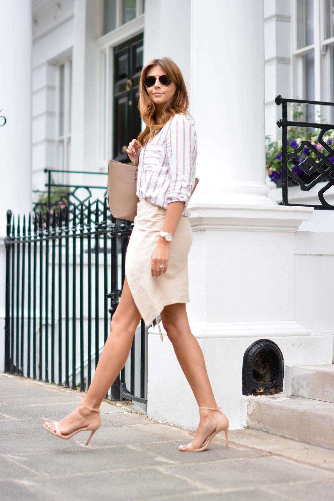 EJSTYLE - Emma Hill wears Zara stripe shirt, beige wrap skirt, nude strappy sandals, Mango saffiano tote bag, aviator sunglasses, Summer OOTD, london street style
