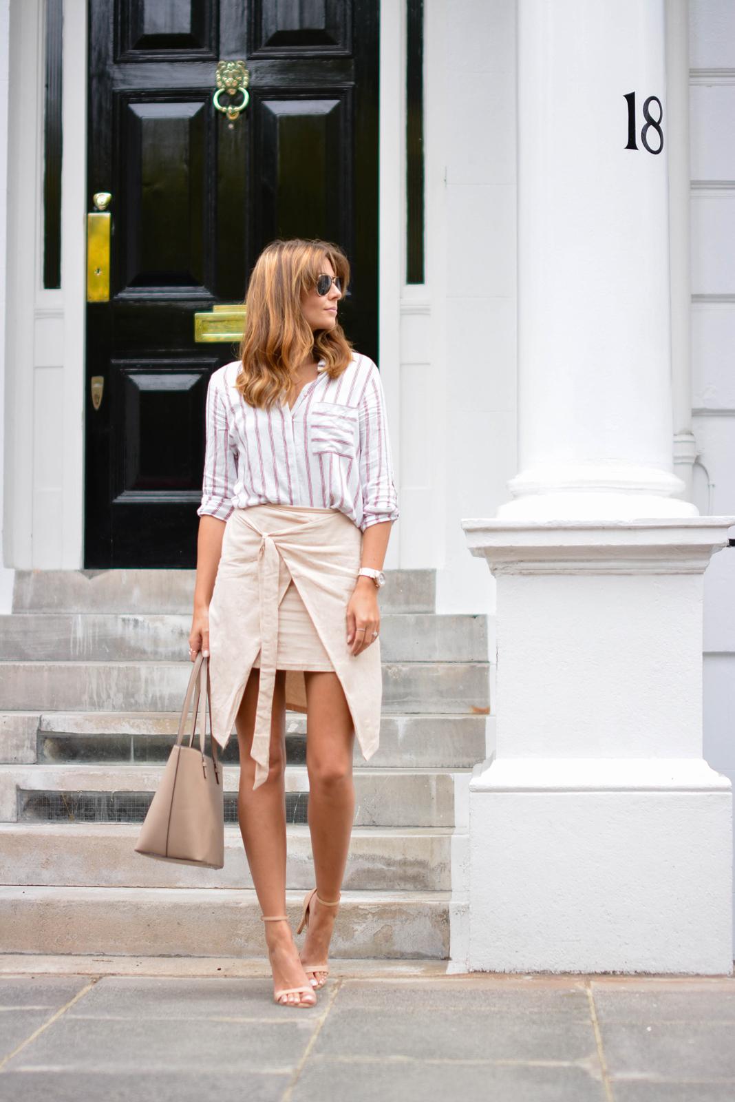 EJSTYLE - Emma Hill wears Zara stripe shirt, beige wrap skirt, nude strappy sandals, Mango saffiano tote bag, aviator sunglasses, Summer OOTD, street style 2015