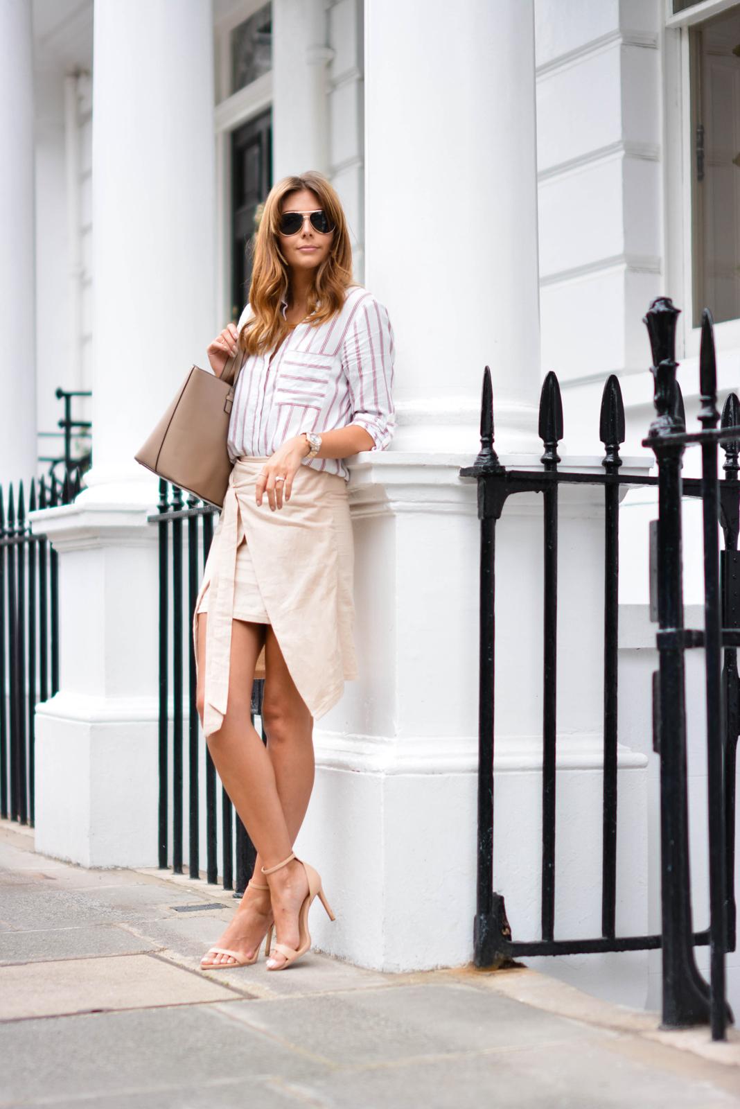 EJSTYLE - Emma Hill wears Zara stripe shirt, beige wrap skirt, nude strappy sandals, Mango saffiano tote bag, aviator sunglasses, Summer OOTD