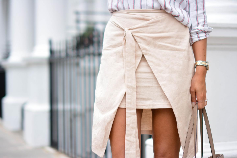 EJSTYLE - Emma Hill wears Zara stripe shirt, beige wrap skirt