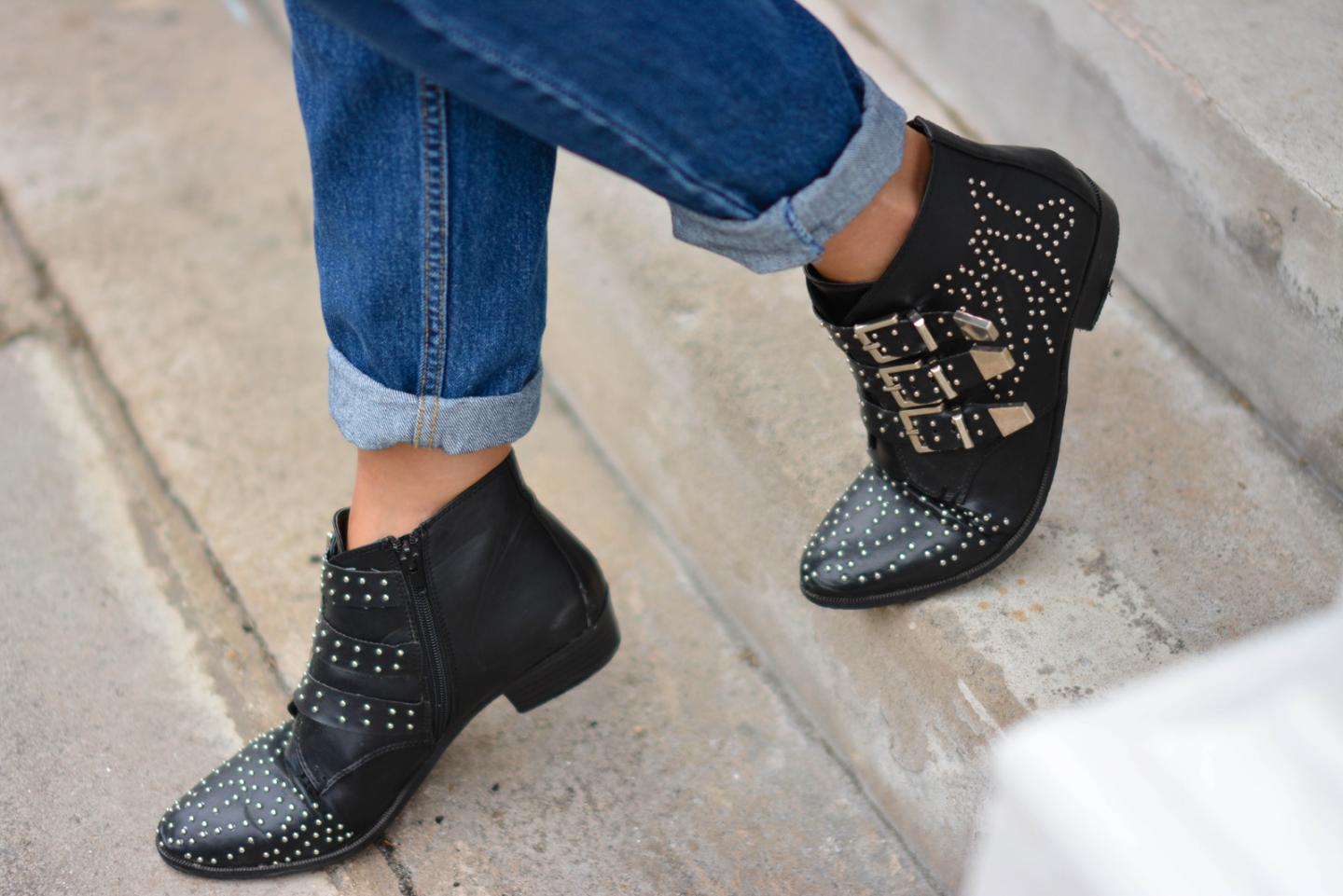 EJSTYLE - Emma Hill wears black studded chloe susanna style ankle boots