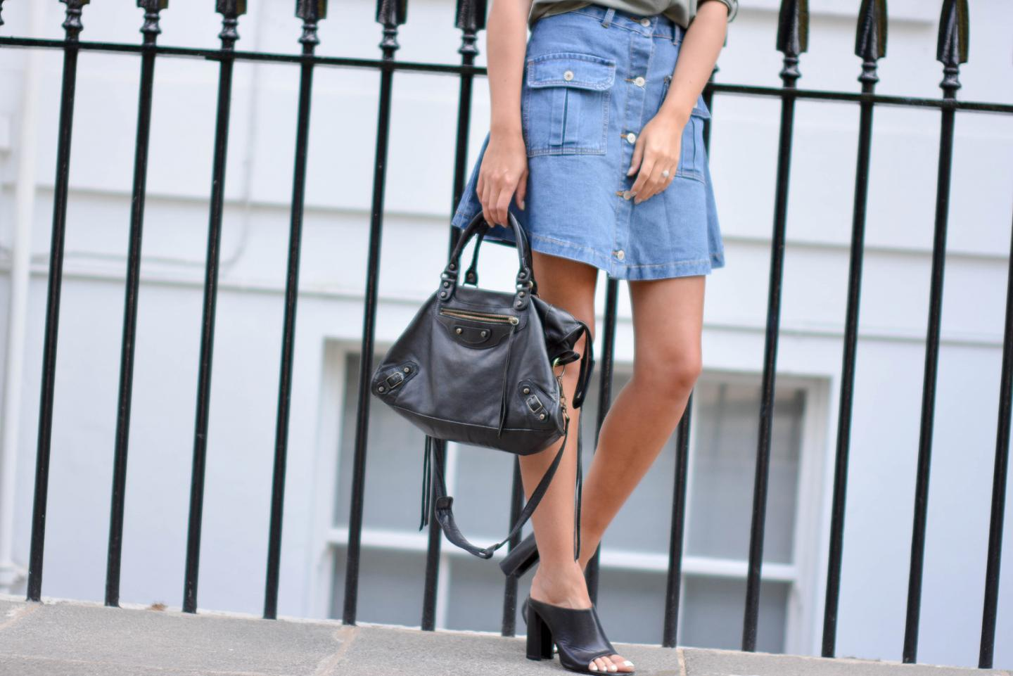 EJSTYLE - Emma Hill wears button up denim skirt with black zara mules and balenciaga bag, how to dress for summer