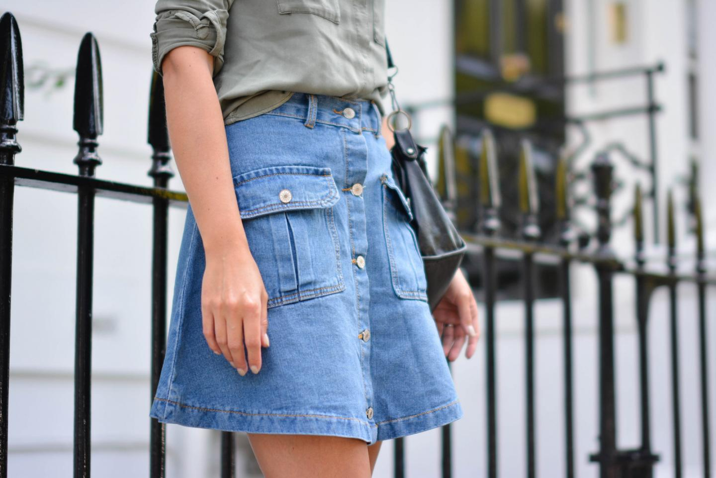 EJSTYLE - Emma Hill wears button up denim skirt with pockets with a khaki shirt, how to dress for summer