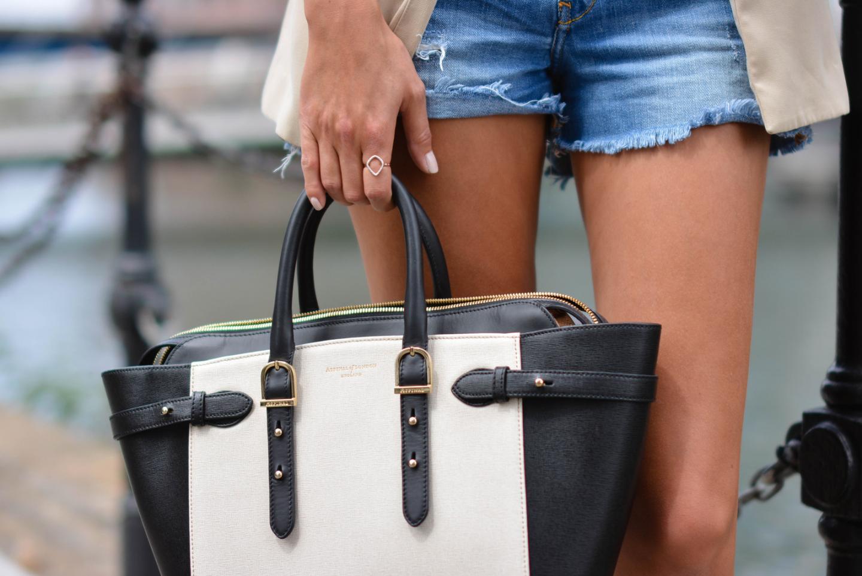EJSTYLE - Monica Vinader ring, Denim shorts, Aspinal of London bag