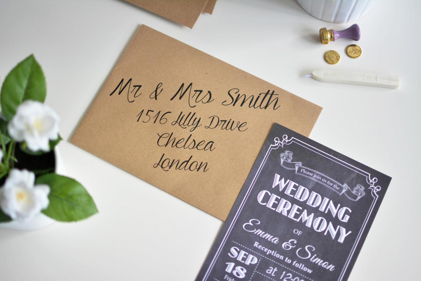EJSTYLE Wedding - Chalboard Wedding invitations, kraft paper envelopes, diy wedding invites, low cost wedding invitations, print your own envelopes