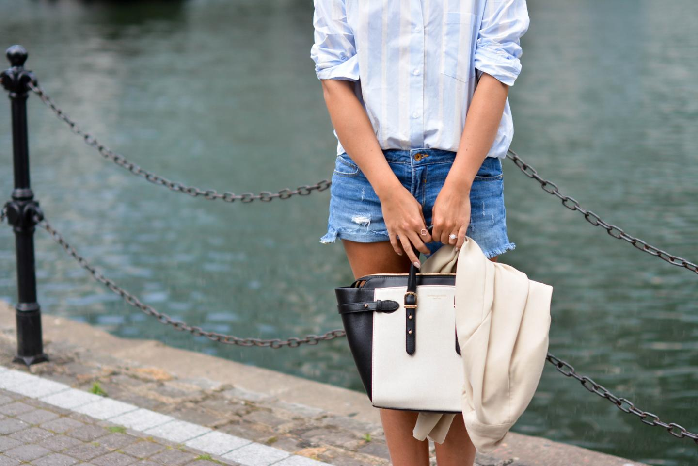 EJSTYLE -  blue stripe ASOS boyfriend shirt, Denim shorts, Aspinal of London bag, summer outfit