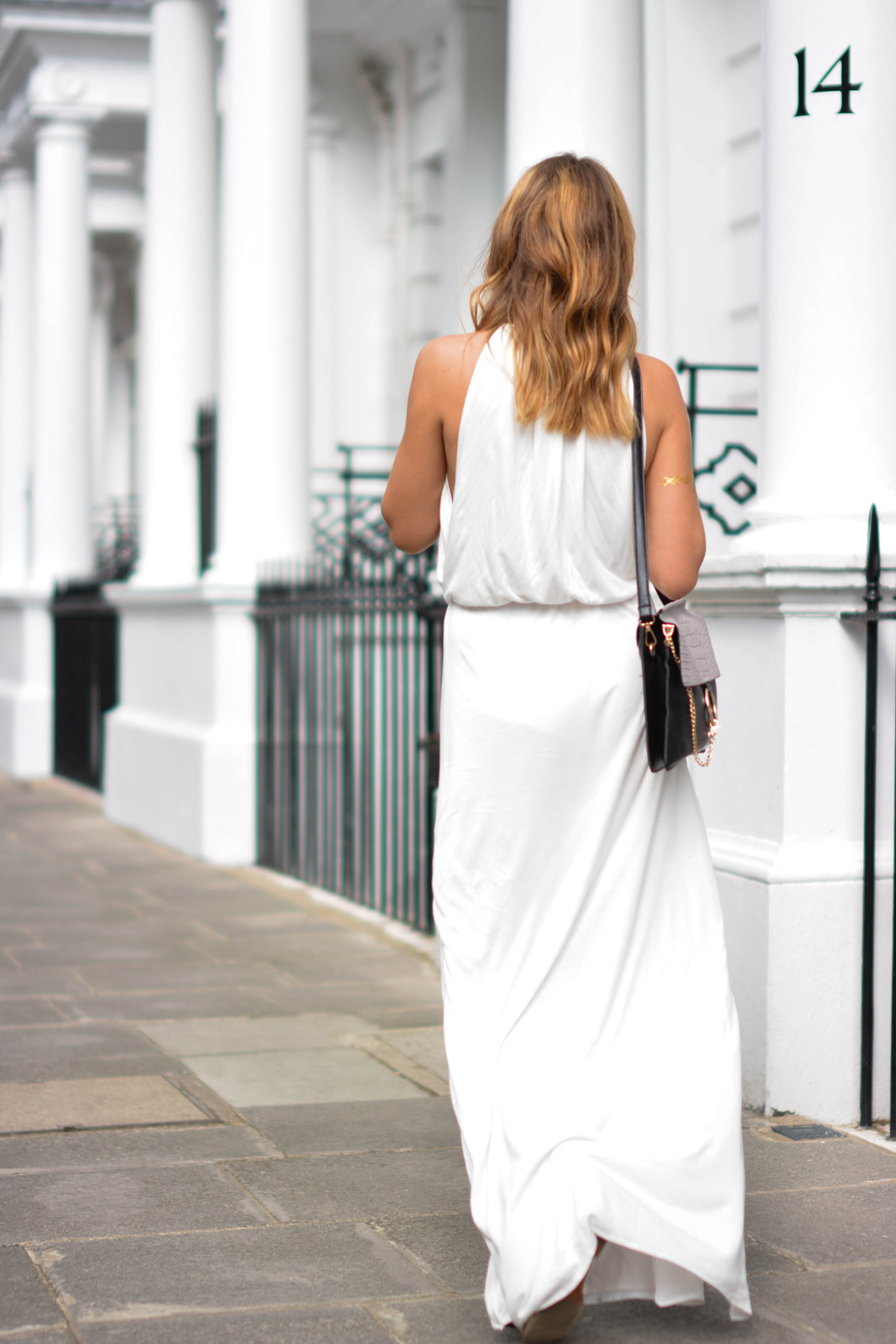 EJSTYLE - Melissa Odabash Rachel white grecian dress, gold arm tattoo, Chloe Faye style dupe bag