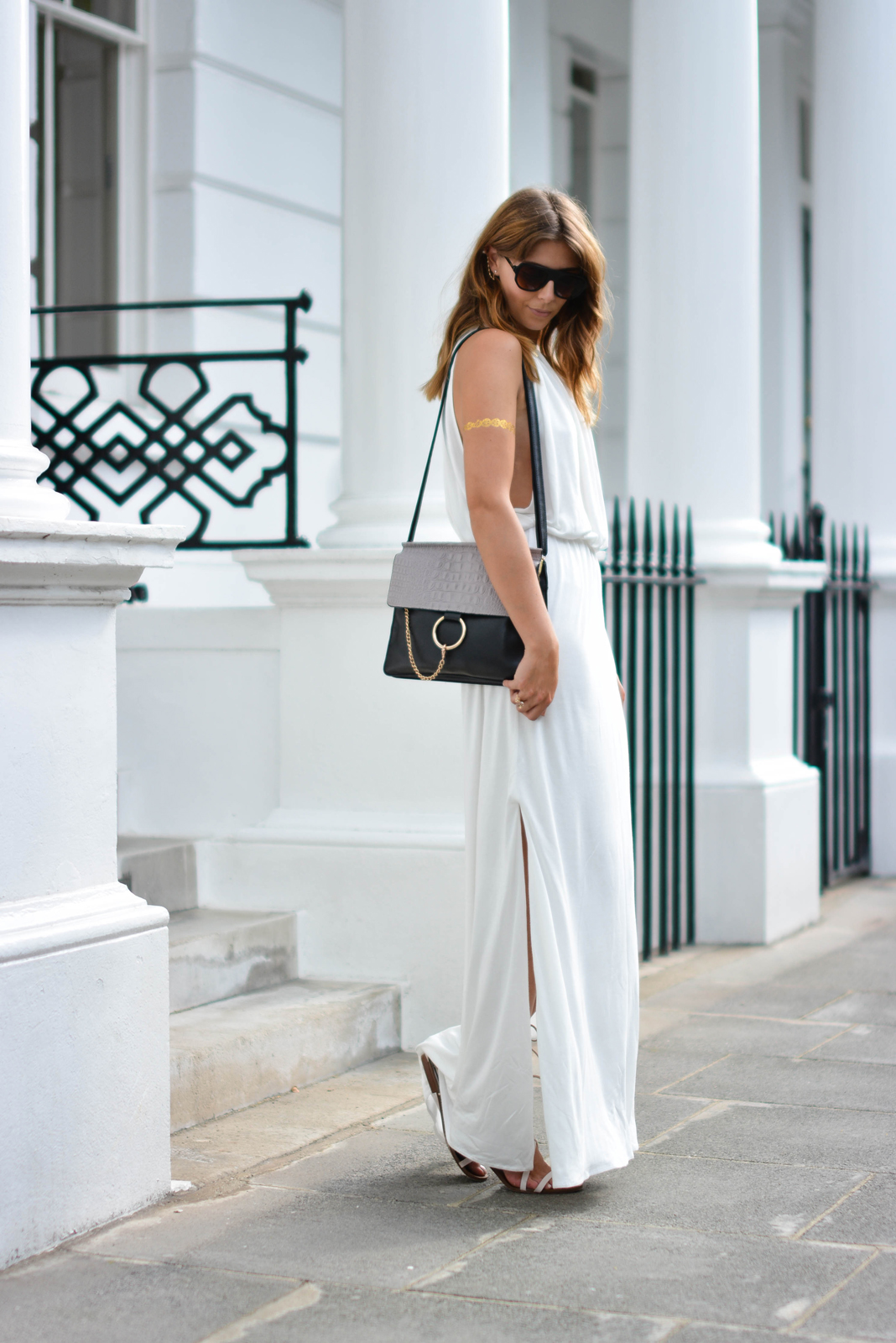 EJSTYLE - Melissa Odabash Rachel white grecian dress, gold chain and pearl ear cuff, Chloe Faye bag, gold flash arm tattoo