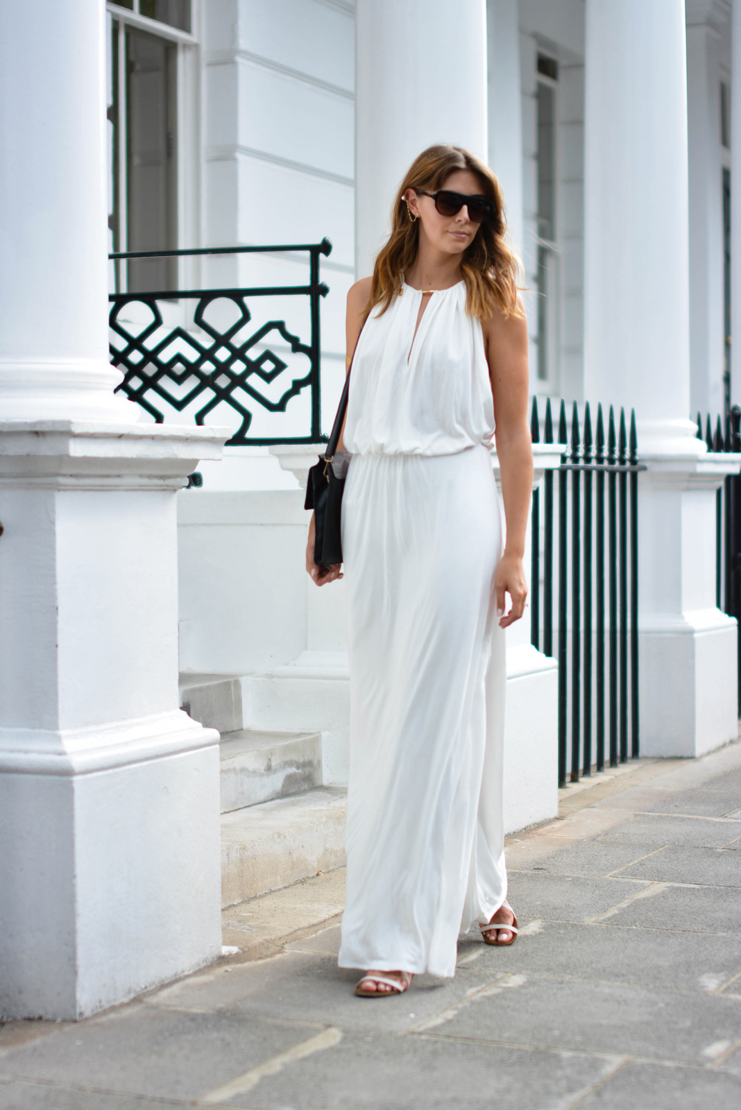 EJSTYLE - Melissa Odabash Rachel white grecian dress, gold chain and pearl ear cuff, Chloe Faye bag, summer outfit, beach cafe uk