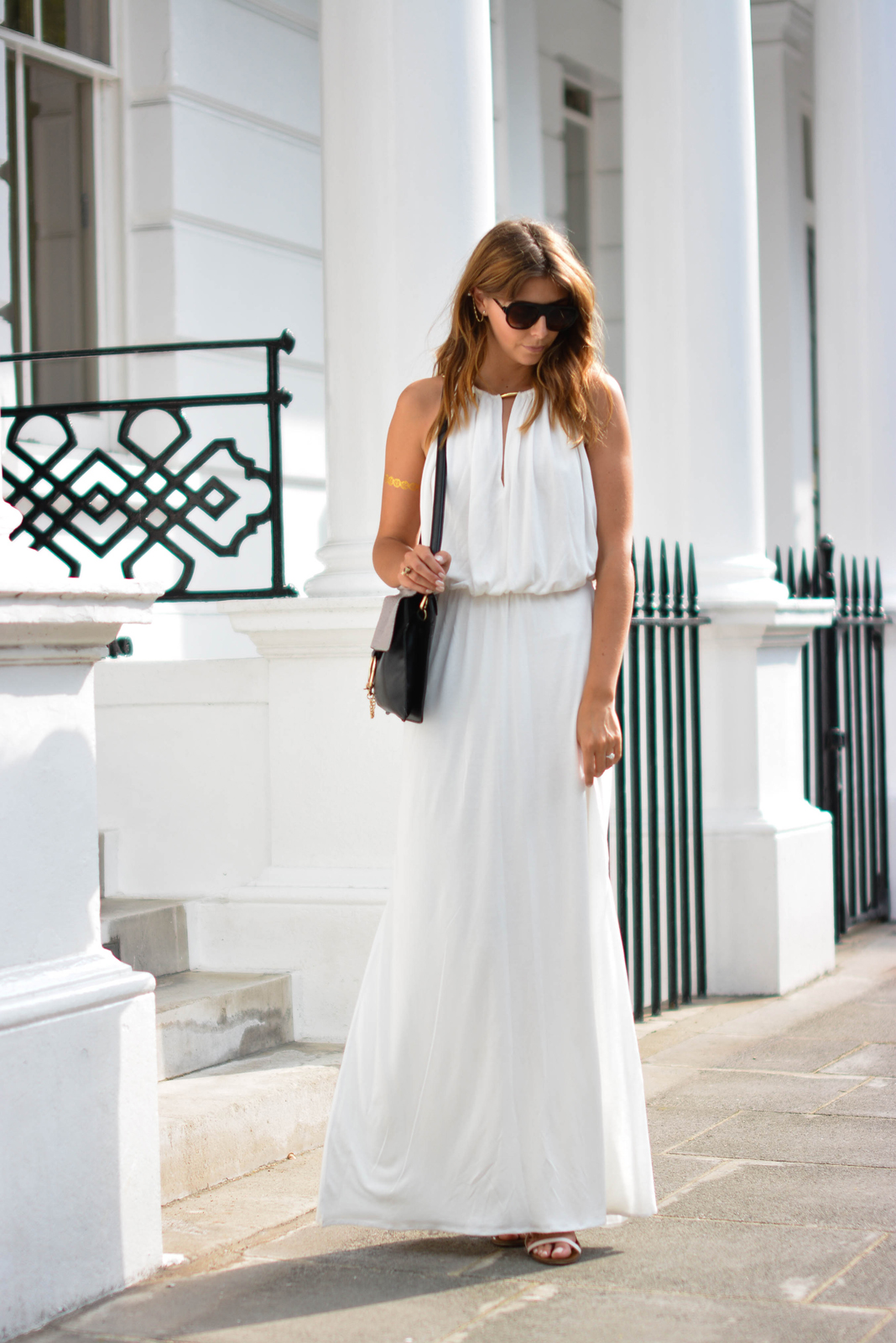 EJSTYLE - Melissa Odabash Rachel white grecian dress, gold chain and pearl ear cuff, Chloe Faye bag