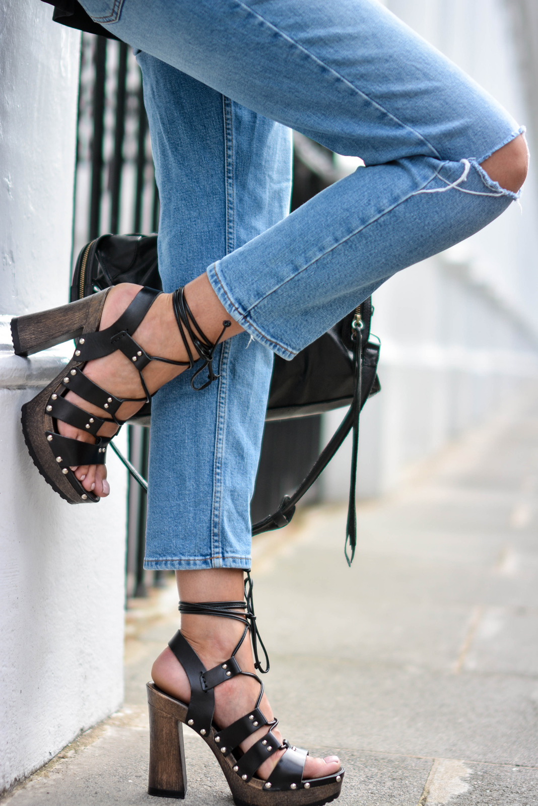 EJSTYLE wears ASOS lace up Turn Back Time wooden platform heels sandals, ripped knee girlfreind jeans