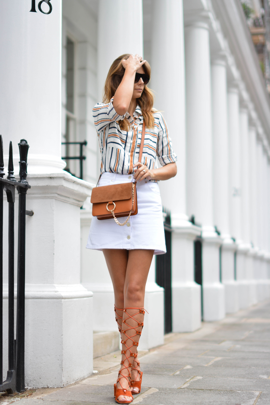 EJSTYLE wears Chloe style Tan lace up gladiator wedge sandals, White button up denim mini skirt, retro stripe shirt, Tan suede leather chloe style Faye bag, OOTD, london street style