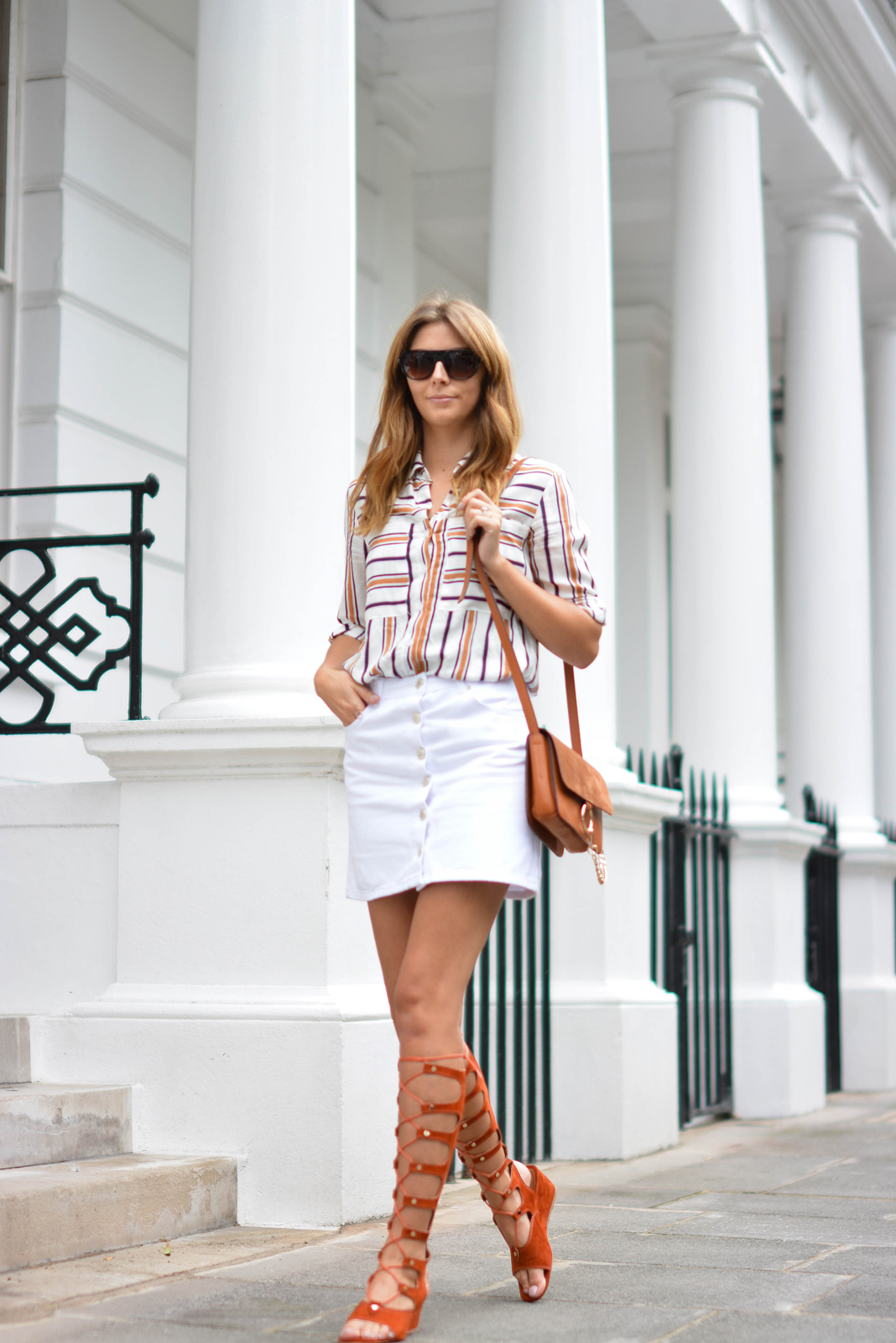 EJSTYLE wears Chloe style Tan lace up gladiator wedge sandals, White button up denim mini skirt, retro stripe shirt, Tan suede leather chloe style Faye bag, OOTD