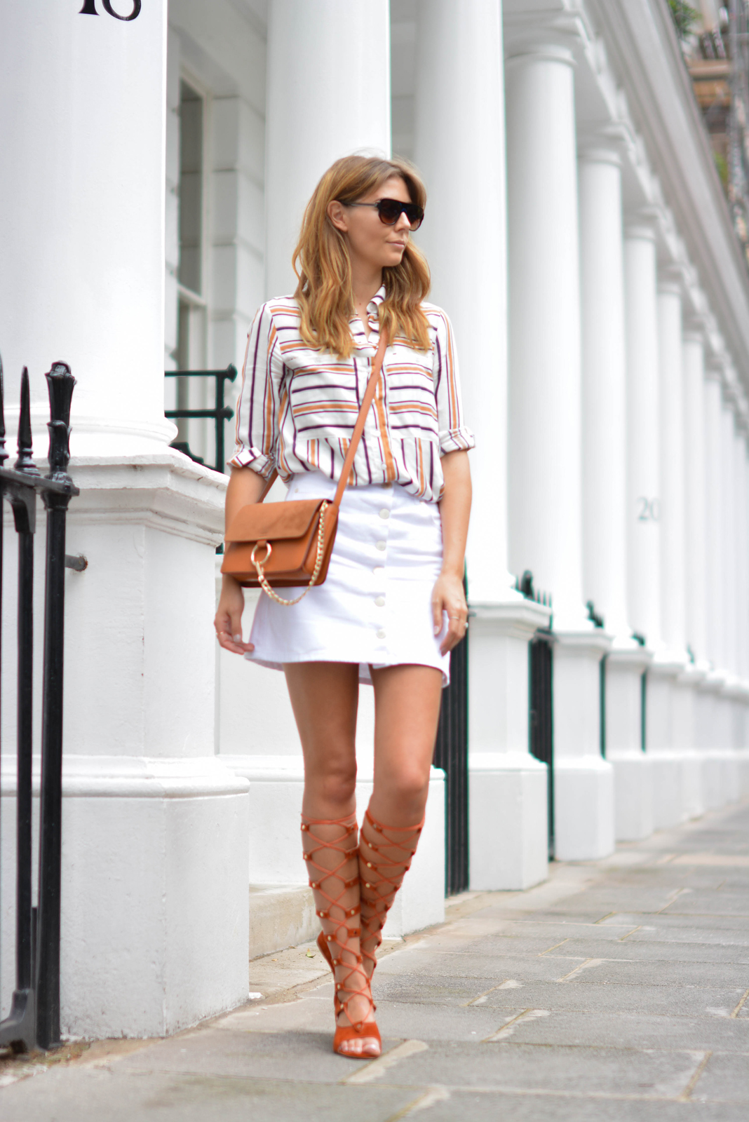 EJSTYLE wears Chloe style Tan lace up gladiator wedge sandals, White button up denim mini skirt, retro stripe shirt, Tan suede leather chloe style Faye bag, summer outfit ideas
