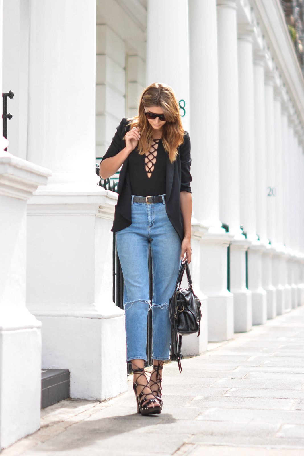 EJSTYLE wears Lace up black top bodysuit, Black blazer, girlfreind jeans, black belt, Flat top square sunglasses, Balenciaga city bag black, asos turn back time wooden platform lace up sandals heels, OOTD
