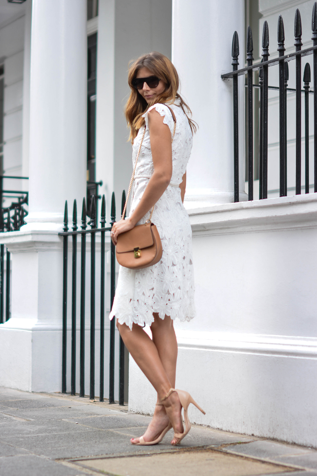EJSTYLE wears white lace dress, nude barely there sandals, tan shoulder bag, wedding guest outfit, bridal shower outfit, OOTD